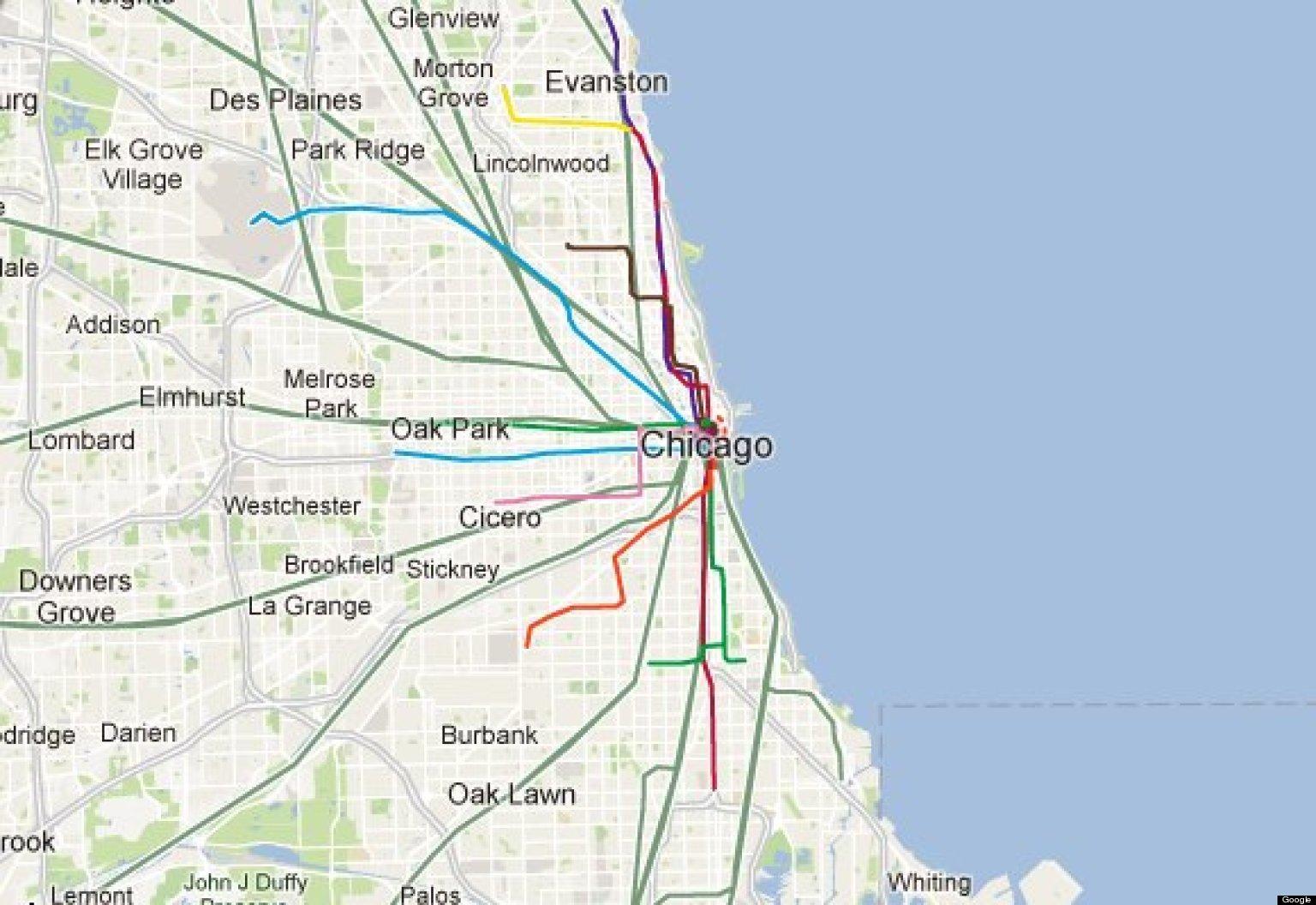 Karta Usa Chicago.Chicago Bla Linje Karta Chicago Bla Linje Tag Karta Usa