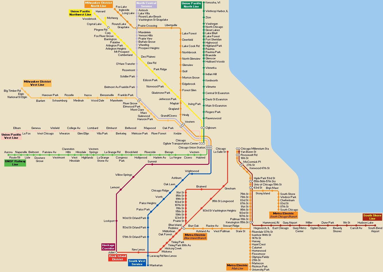 Karta Usa Chicago.Chicago Transport Karta Chicago Public Transport Karta Usa