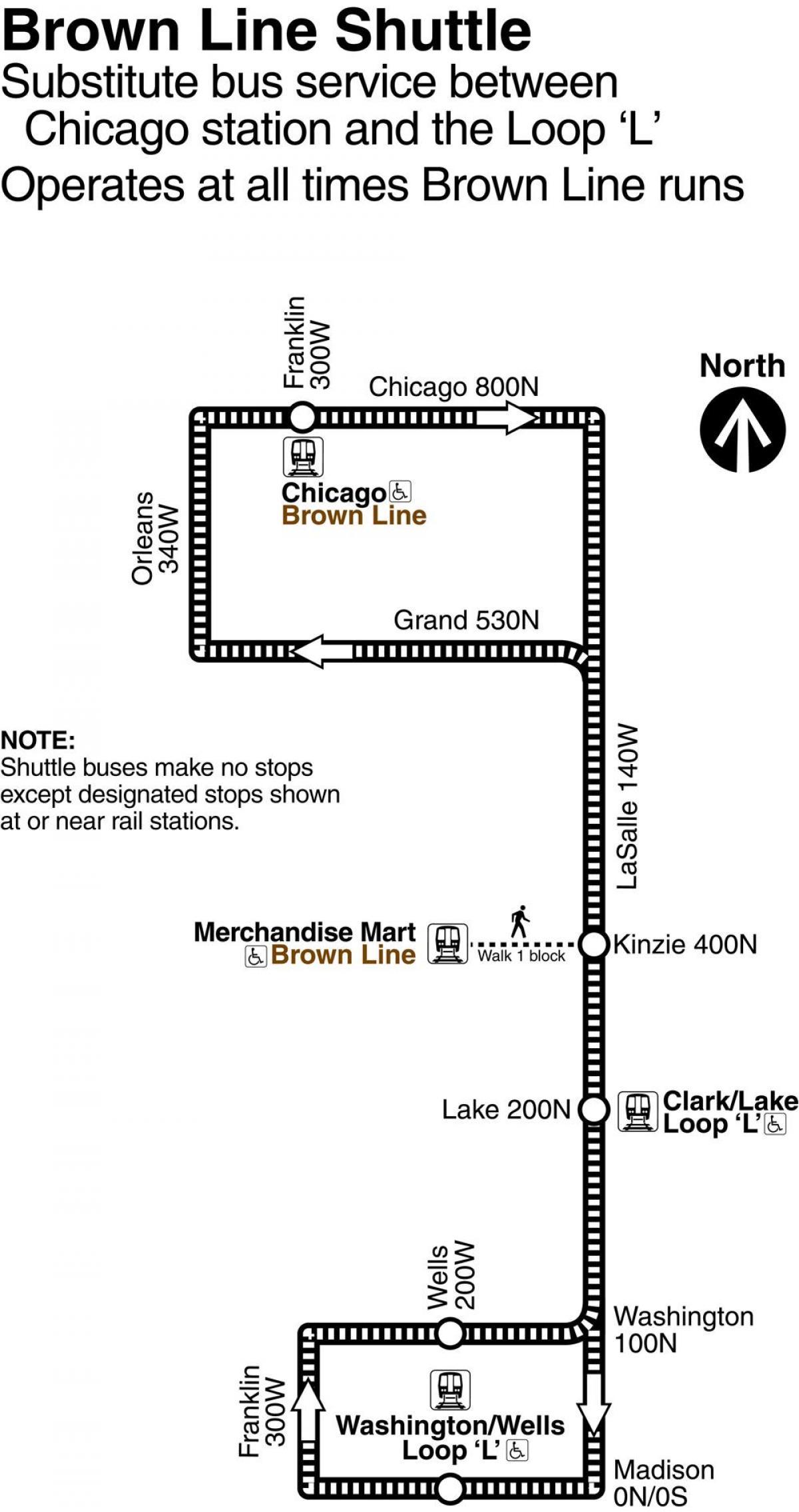 linje på karta Brun linje Chicago karta   Chicago brun linje karta (Usa) linje på karta