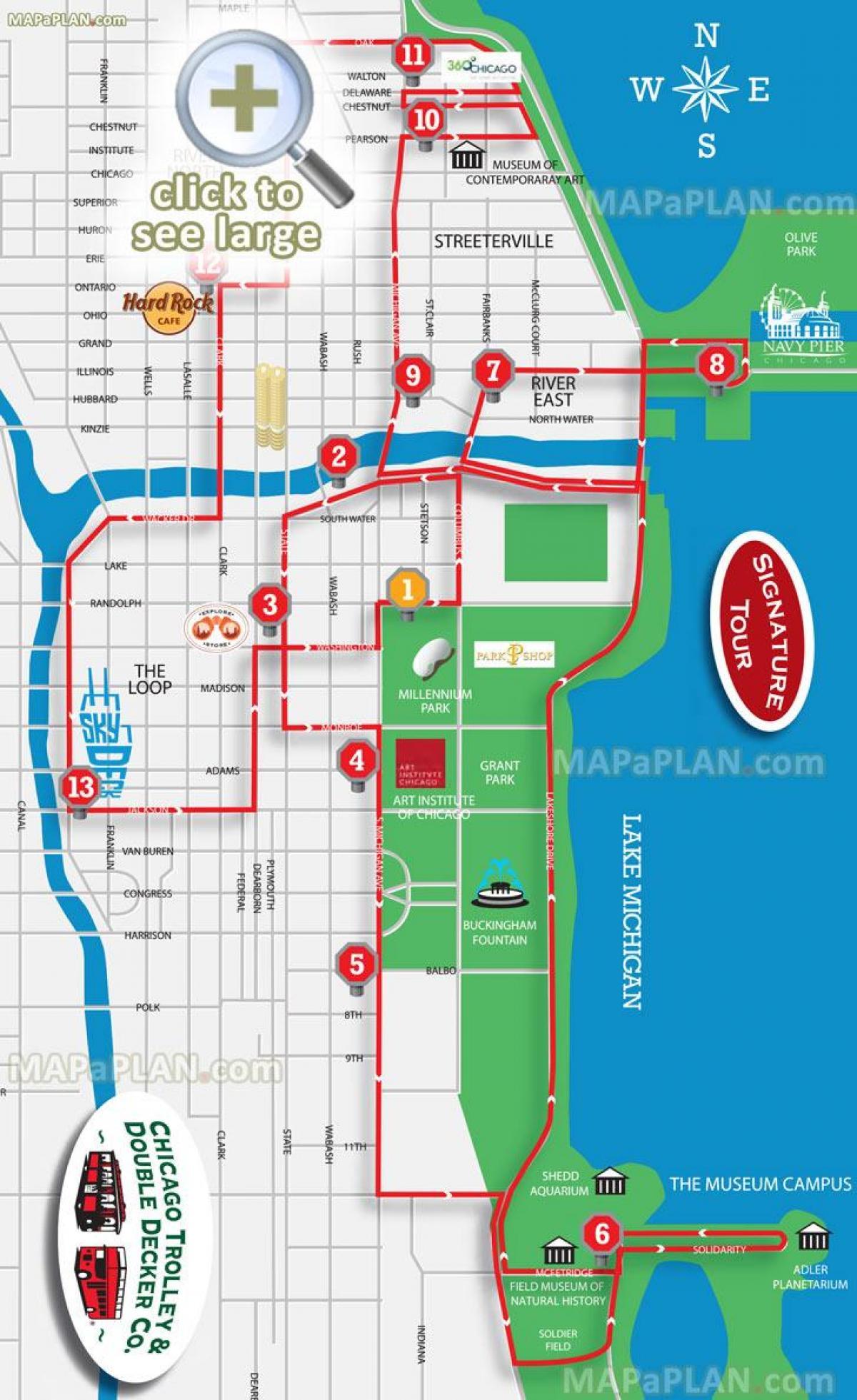 Karta Usa Chicago.Chicago Sightseeing Karta Chicago Sevardheter Karta Usa