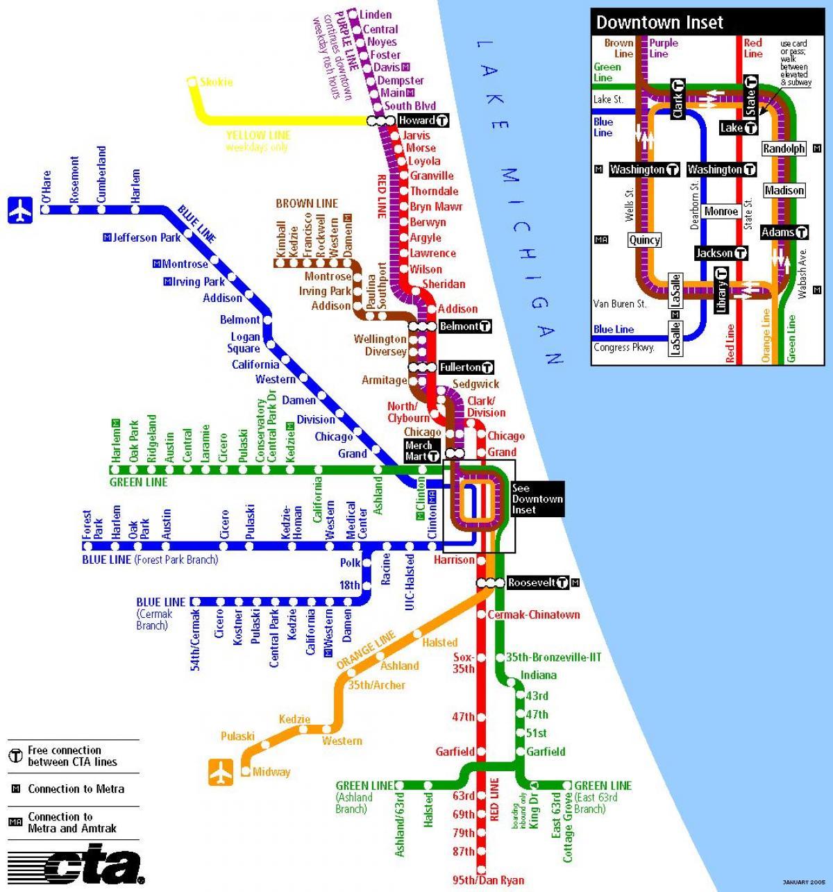 Karta Usa Chicago.Tunnelbana Karta Chicago Tunnelbana I Chicago Karta Usa